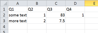 Example contents of a CSV file for use with SPSS Syntax in Q